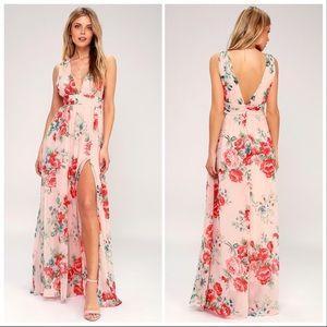 Lulu's Garden Meandering Blush Floral Maxi Dress